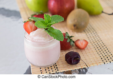 orgânica, smoothie morango, feito, com, fresco, ingredientes