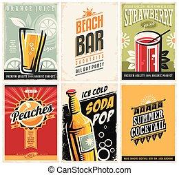 orgânica, sucos, cobrança, retro, popular, cartazes, bebidas