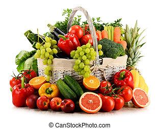 orgânica, vime, legumes, isolado, frutas, cesta, branca