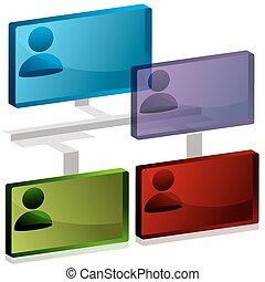 org, 3d, tabelle, ikone