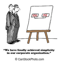 Org Chart - Business cartoon about a simple org chart.
