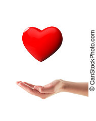 Organ donation/Hand holding 3d glossy heart isolated on...