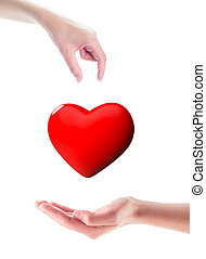 Organ donation/Hands one giving 3d glossy heart, the other receiving, isolated on white