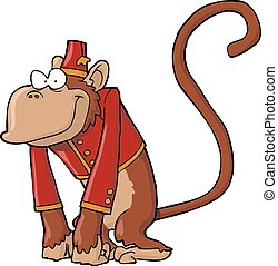 Organ grinder monkey on a white background vector ...