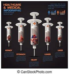 organ, läkar diagram, infographic, mänsklig, sjukvård, injektionsspruta