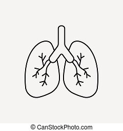 vector clipart of lung line icon - vector lungs thin line icon, Powerpoint templates