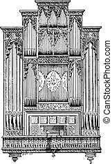 Organ of Perpignan Cathedral, vintage engraving.