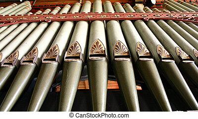 Organ Pipes - Church organ pipes from below
