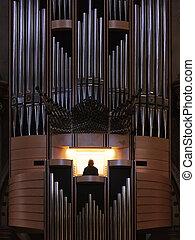 Organ pipes from a church organ in Santa Maria de Montserrat Abbey