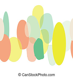 Organic abstract modern yellow green orange border seameless pattern.