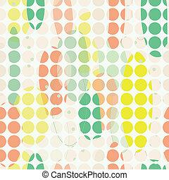Organic abstract modern yellow green orange seameless pattern with off-white circles.