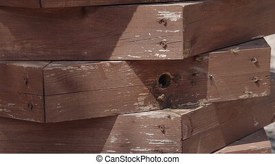 Organic agriculture wooden bee hive and bees. Healthy farm...