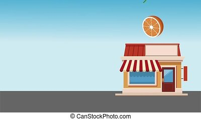 Organic and fresh food HD animation - Store building and...