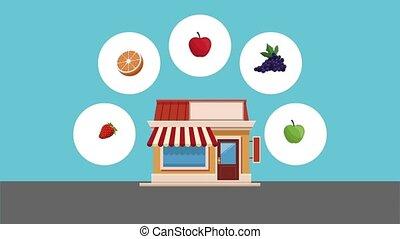 Organic and fresh food HD animation