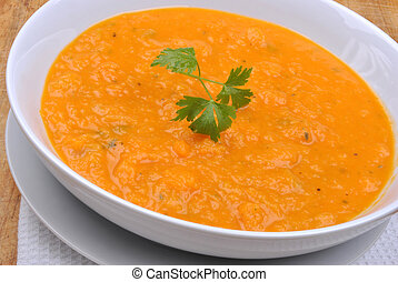 organic and healthy butternut squash creme soup