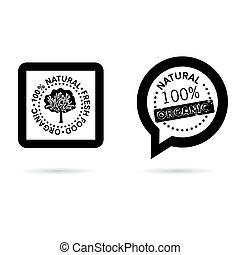 organic and natural icon in black color illustration