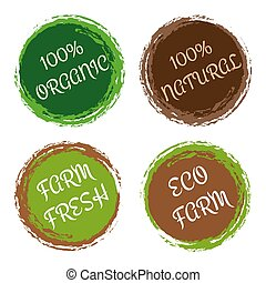 Organic and natural labels - vector set with circle frames