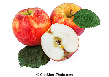 Organic apples with leaves on white background.