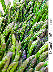 Organic asparagus - Bunch of organic green asparagus at...