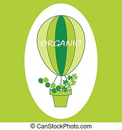 Organic balloon with green leaves. Eco logo, signs or labels.