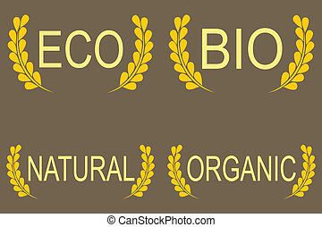 Organic, bio, eco natural set.