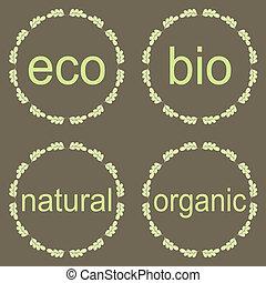Organic, bio, eco natural set.