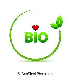 organic bio plant logo with red heart