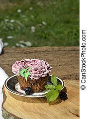 Organic blackberry fruit cupcake