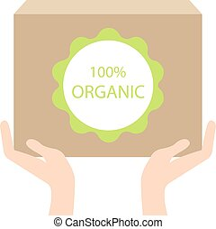 Organic box in hand,vector ecology concept