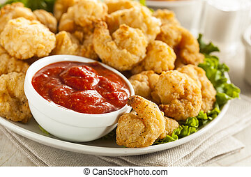 Organic Breaded Popcorn Shrimp with Cocktail Sauce