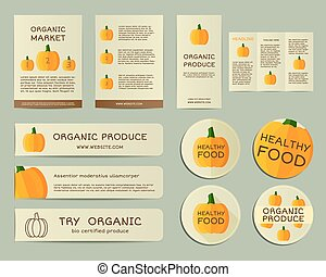 Organic business corporate identity design with pumpkin. Branding your organic company. Brochure. Mock up design. Best for natural shop, organic fairs, eco markets and local companies. Vector