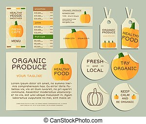 Organic business corporate identity design with pumpkin. Branding your organic company. Menu card. Mock up design. Best for natural shop, organic fairs, eco markets and local companies. Vector