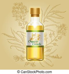 Organic canola, mustard oil in glass bottle with drawn ...