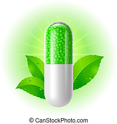 Organic capsule with green Leaves. Illustration on white for...