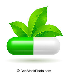 Organic capsule with green Leaves. Illustration on white
