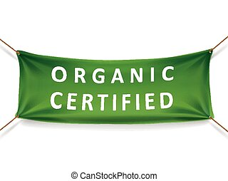 organic certified banner isolated over white background