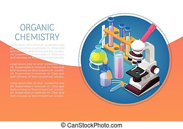 Organic chemestry education and science concept with glass ...