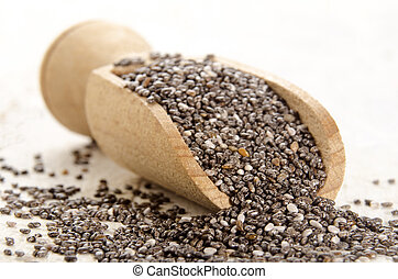 chia seed on a wooden shovel