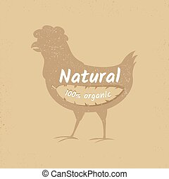 Organic chicken vintage vector logo design banner