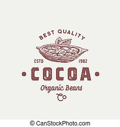 Organic Cocoa Beans Abstract Vector Sign, Symbol or Logo...