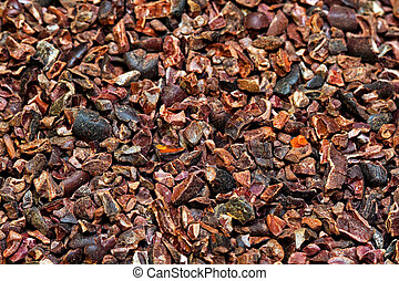 Organic cocoa nibs - Bunch of raw organic crushed cocoa nibs...