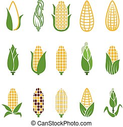 Organic corn vector icons isolated on white background