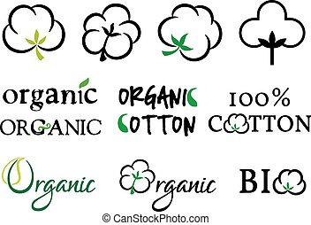 Organic cotton, vector set - Organic cotton symbols, vector ...