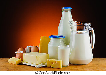 organic daity products - still life with organic dairy...