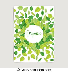 Organic design card with leaves