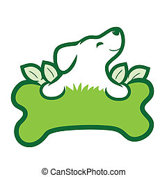 A cute puppy with a big green bone, grass and leaves