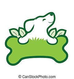 Organic Dog - A cute puppy with a big green bone, grass and ...