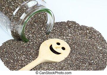 Organic dry chia seeds