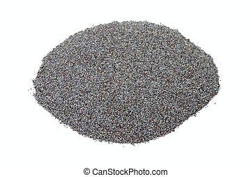 Organic dry poppy seeds on white background