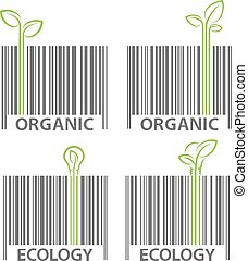 Organic ecology barcode signs vector set